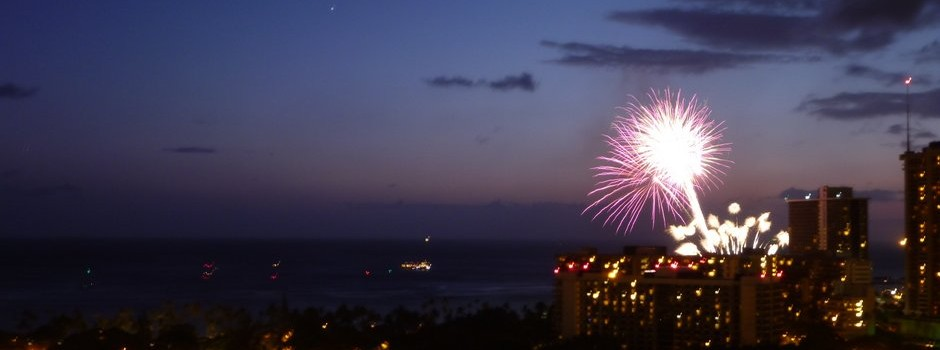 Friday night fireworks in Waikiki