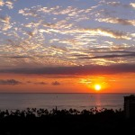 Gorgeous sunset over the ocean in Waikiki