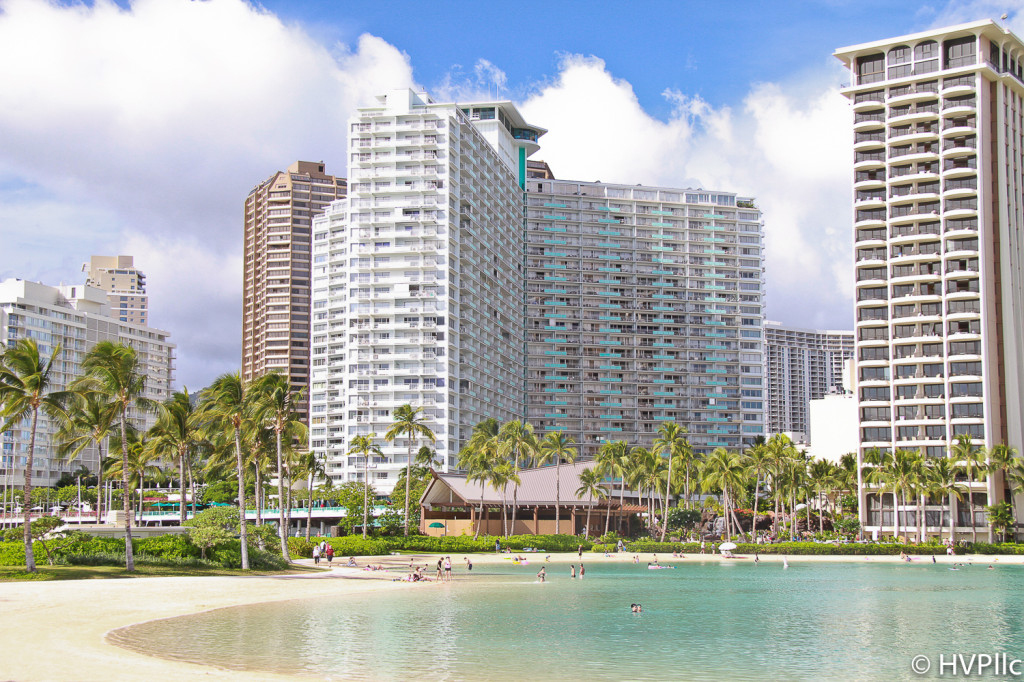View of the Ilikai Suites in Waikiki from the lagoon