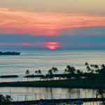Ocean sunset view from lanai in Waikiki