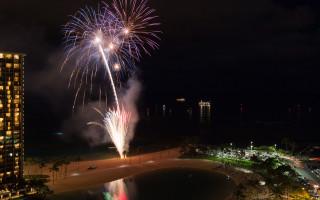 Friday night fireworks on the beach outside the Ilikai on Waikiki