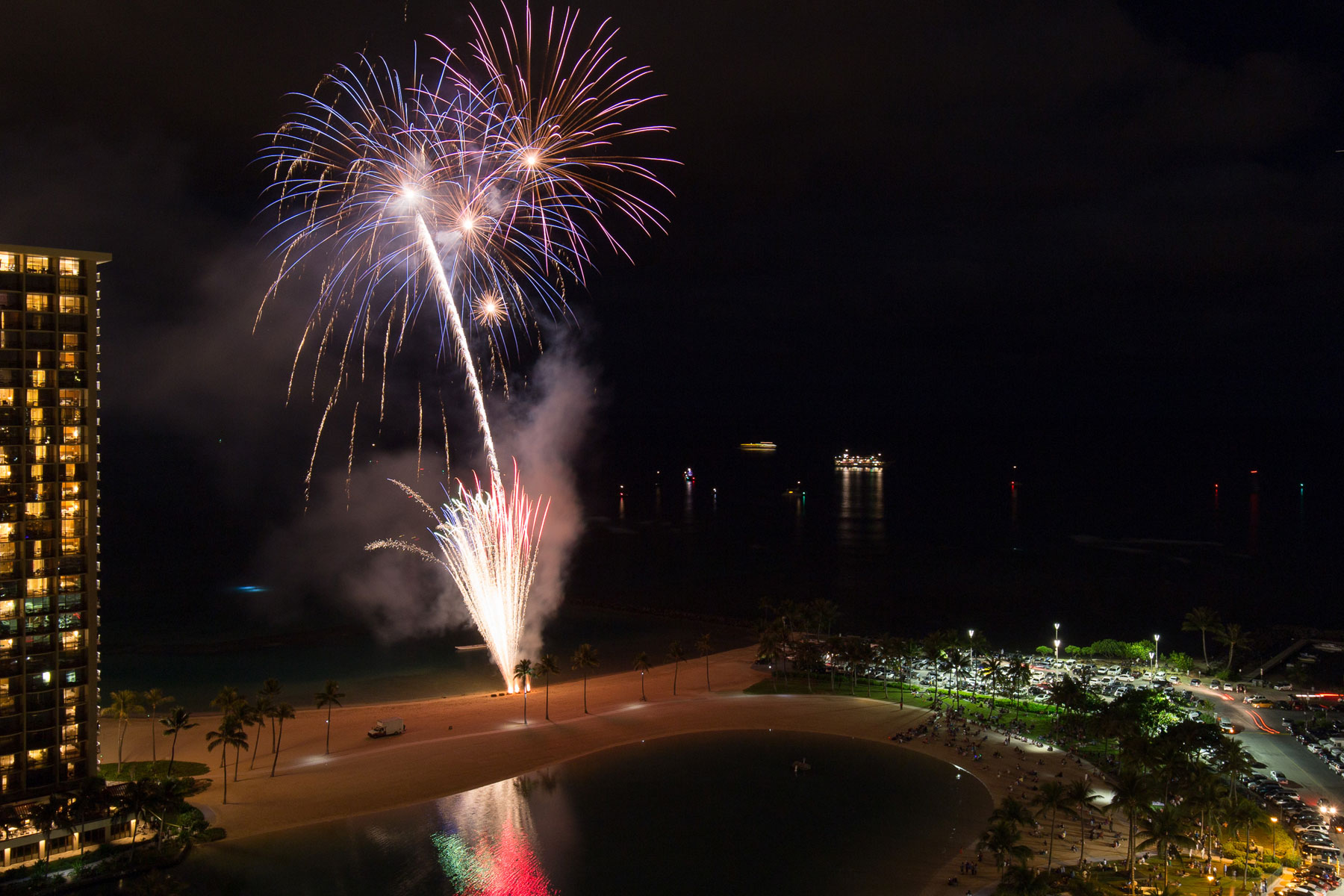 Friday night fireworks on the beach outside the Ilikai on Waikiki