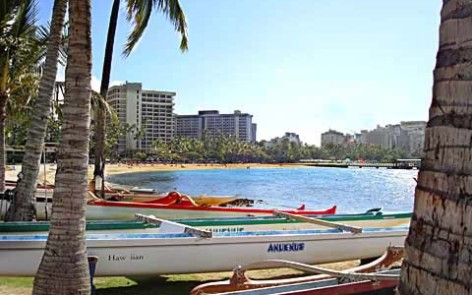 Canoes waiting for you in Waikiki
