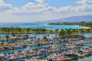 Sky High view of Ala Wai Harbor in Waikiki