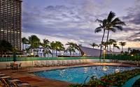 Ilikai swimming pool with beautiful sunset views